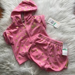NEW Juicy Couture Terrycloth Pink Girls Outfit Set